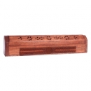 Engraved Wood Flower of Life Incense Holder and Storage Box