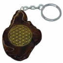 Flower of Life Engraved Slice of Agate Stone Keyring