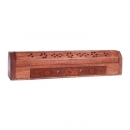 Engraved Wood Chinese Dragon Incense Holder and Storage Box
