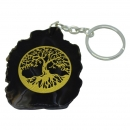 Tree of Life Engraved Slice of Agate Stone Keyring