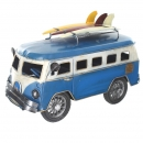 Retro Shabby Chic Camper Van With Surfboards On Roof Rack